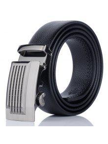 معدنية منقوش السيارات إبزيم حزام من الجلد فو - أسود