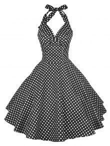 فستان رسن البولكا نقطة عارية الظهر - أسود Xl