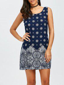 فستان مصغر مستقيم بوهيمي - الأرجواني الأزرق L