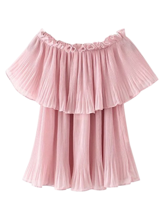 pleated layered the shoulder top pink blouses m zaful