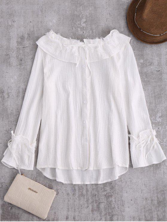 c7c7332de50bc4 28% OFF] 2019 String Lace Ruffle Linen Shirt In WHITE | ZAFUL