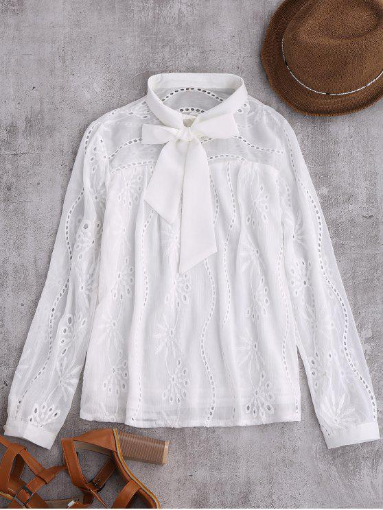 shop Pussy Bow Tie Hollow Out Chiffon Blouse - WHITE M