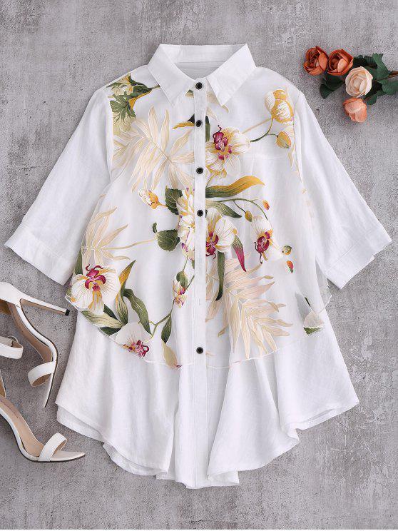 Capas floral de gran tamaño de la blusa - Blanco S