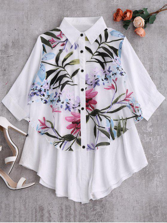 lady Button Up Floral Trapeze Blouse - WHITE S