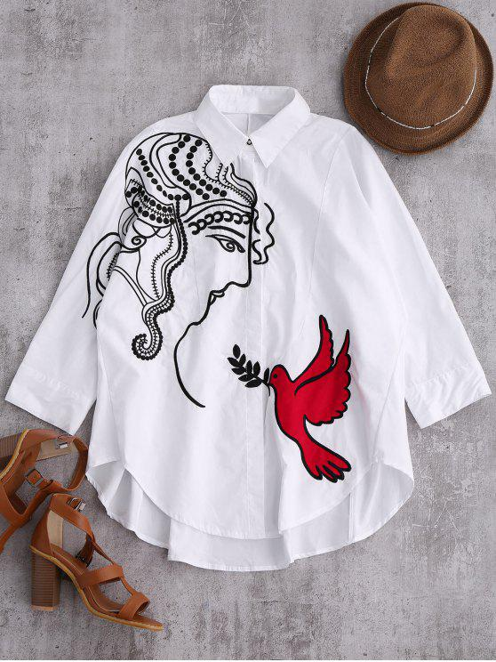 outfits Embroidered Figure and Bird Batwing Shirt - WHITE L