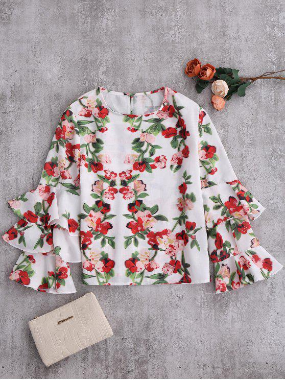 latest Floral Ruffle Sleeve Blouse - COLORMIX M