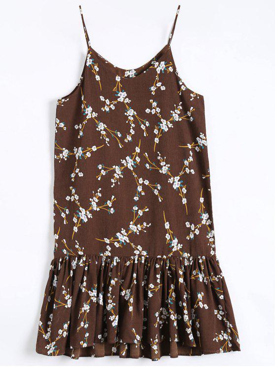 affordable Ruffle Hem Floral Slip Dress - COFFEE ONE SIZE