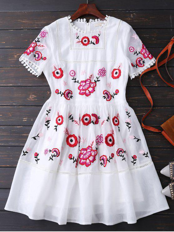 women's Embroidered Floral Dress - WHITE XL