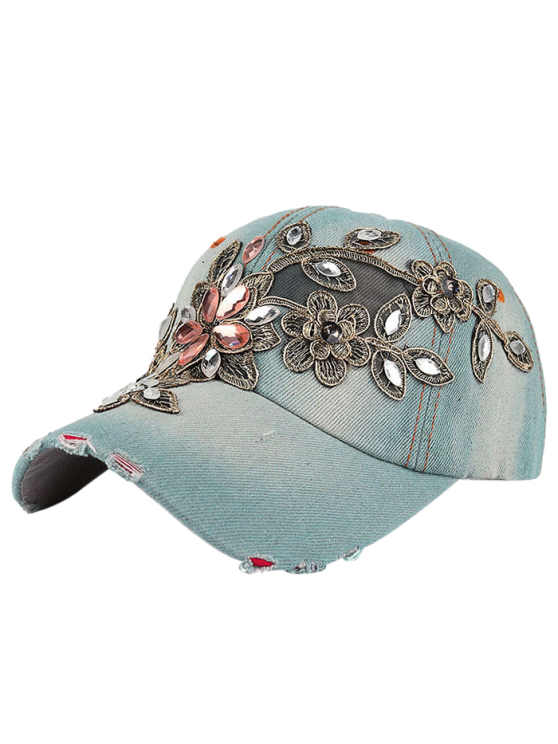 affordable Flower Embroidery Rhinestone Denim Baseball Hat - FRESH