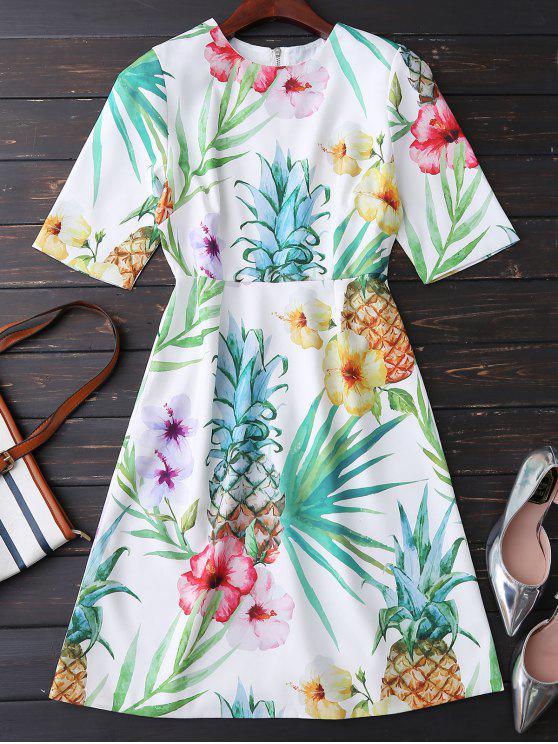 unique Floral Print Flowing Dress - COLORMIX M