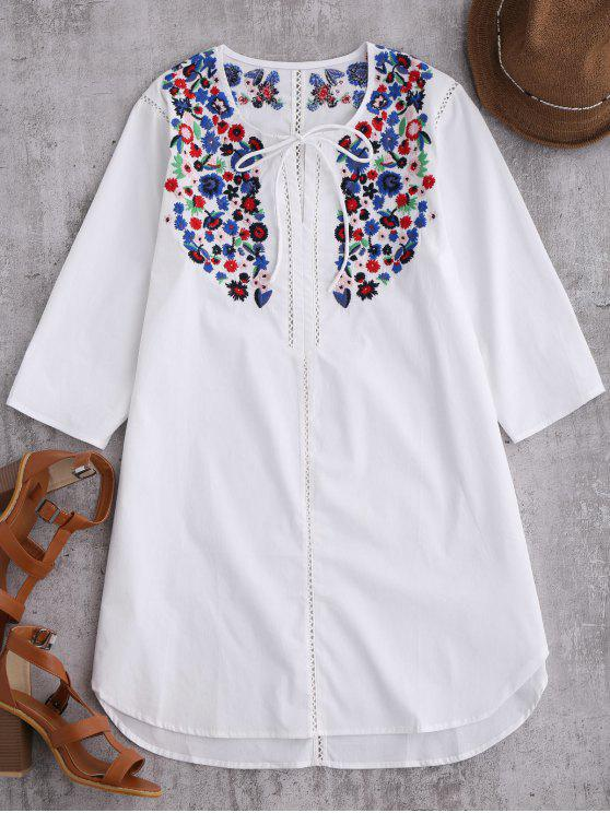 women's Embroidered Tie Front Tunic Dress - WHITE XL