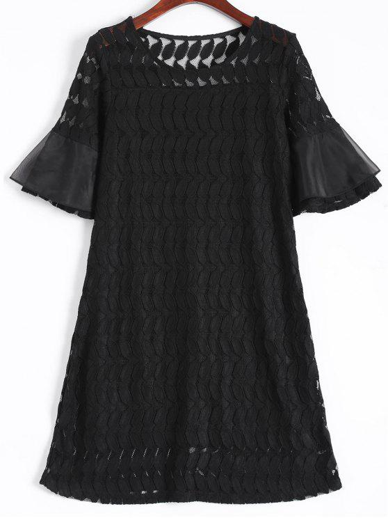 new Sheer Lace Flare Sleeve Dress - BLACK XL