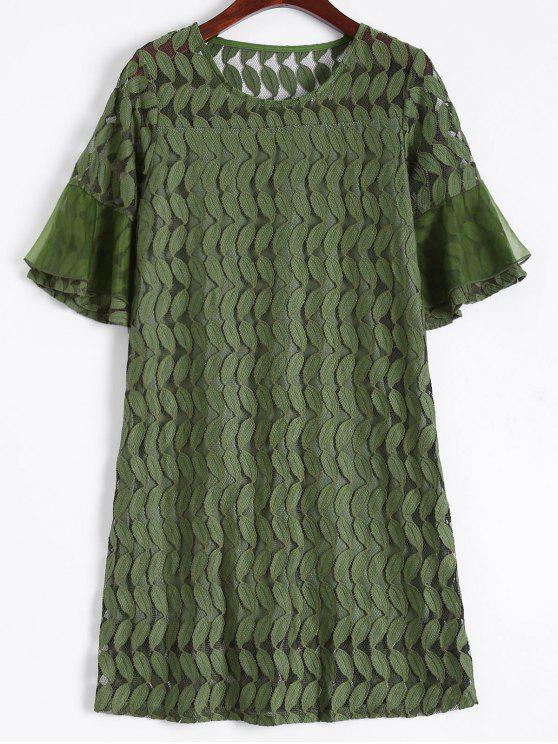 shop Sheer Lace Flare Sleeve Dress - ARMY GREEN L
