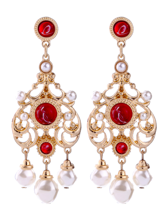 Affordable Faux Ruby Pearl Chandelier Earrings Red