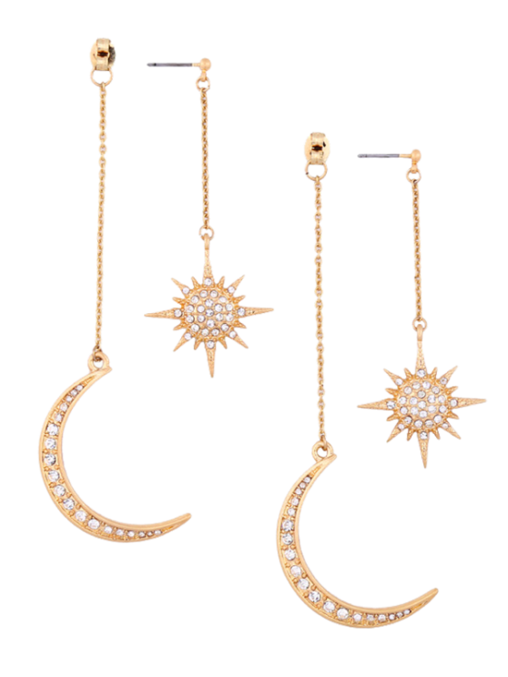 buy Rhinestoned Moon Sun Earrings - GOLDEN