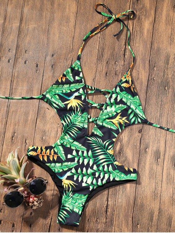 Monokini con Cuello en V sin Espalda con Estampado Tropical - Verde M