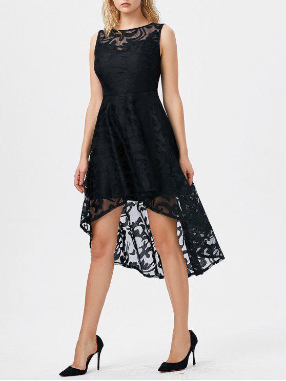 فستان بلا أكمام عالية انخفاض دانتيل - أسود L