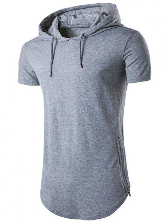 3c1c63e83839 28% OFF] 2019 Hooded Side Zip Up Hem T-Shirt In LIGHT GRAY | ZAFUL