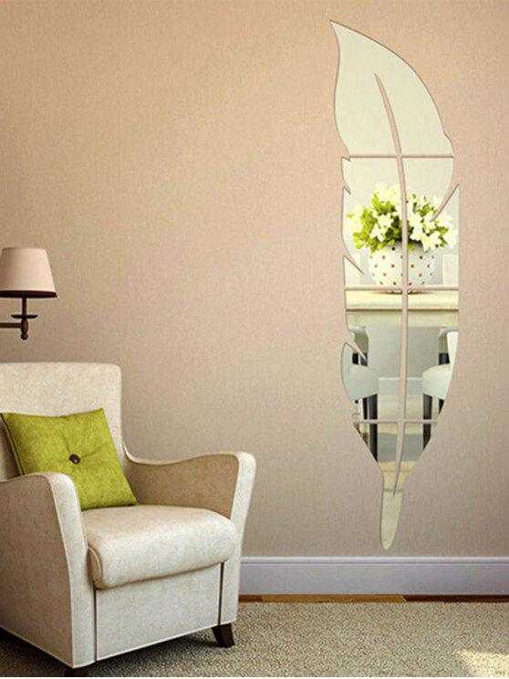 Unique Feather Shape Home Decor Acrylic Mirror Wall Sticker Silver 15cm 72cm