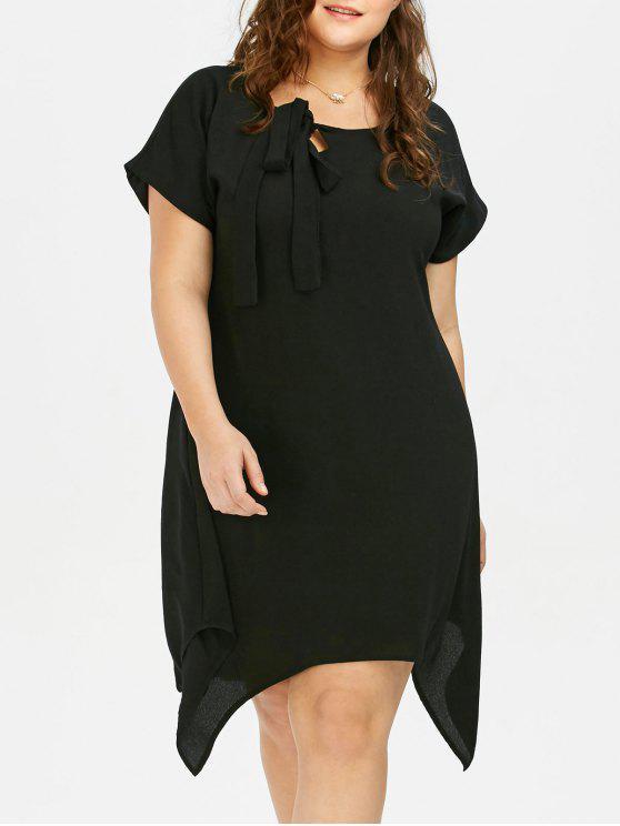زائد حجم كس القوس الشيفون اللباس غير المتماثلة - أسود 4XL