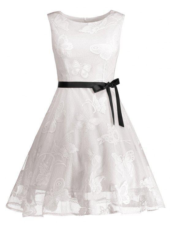 زائد حجم الفراشة الجاكار ألف خط فستان رسمي قصير - أبيض XL