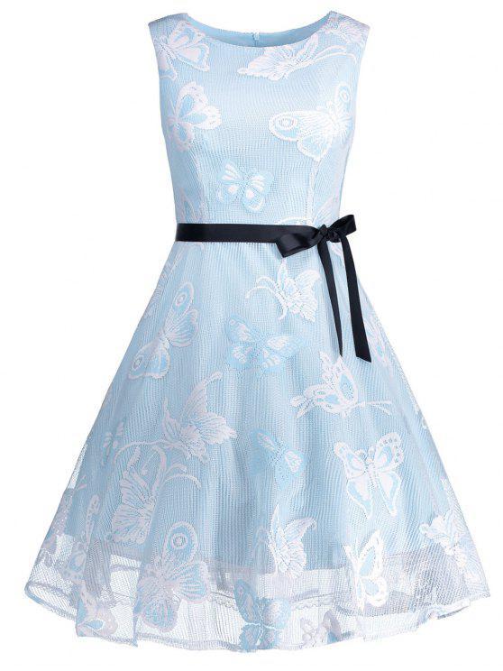فستان بمقاس كبير من قماش الجاكارد مزين بفراشات - الضوء الأزرق 4XL