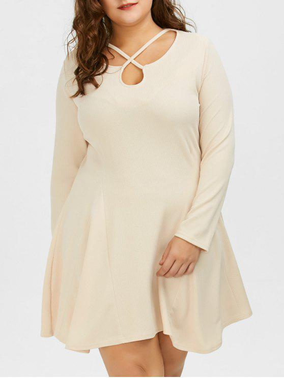 23016252cdb36 32% OFF] 2019 Cutout Plus Size Skater Dress With Long Sleeves In ...