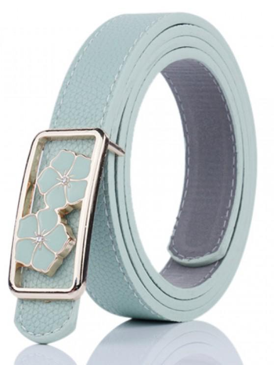 ladies Double Flowers Buckle Faux Leather Wide Belt - LIGHT GREEN
