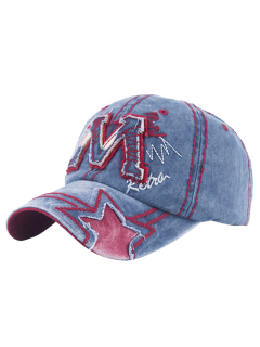 Frayed Letter M And Star Baseball Hat - Light Blue