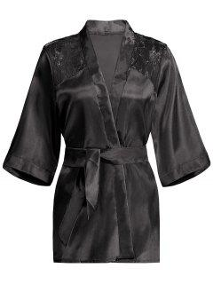 Lace Panel Sleep Wrap Robe - Black S