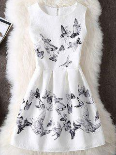 Sleeveless Butterfly Print Cocktail Dress - White S