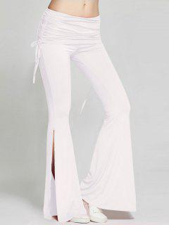 High Slit Flare Bell Bottom Yoga Pants - White S