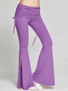 High Slit Flare Bell Bottom Yoga Pants - Purple Xl