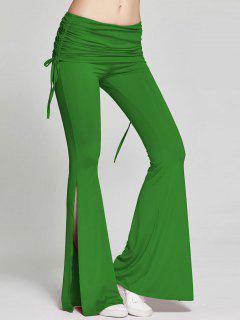 High Slit Flare Bell Bottom Yoga Pants - Green M