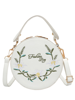 Flower Embroidered Canteen Crossbody Bag - White