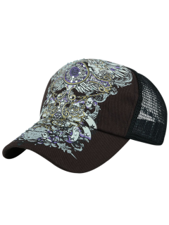 Hand Painted Hot Drilling Baseball Hat - Coffee