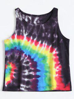 Colorful Tie Dye Tank Top - Black M