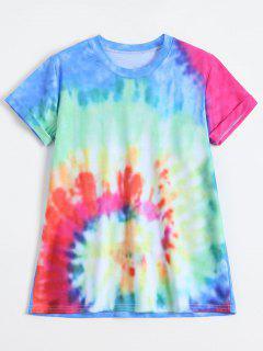Rainbow Tie Dye Swirl Tee - Blue M