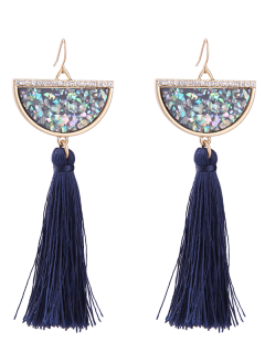 Rhinestone Artificial Gem Tassel Earrings - Deep Blue