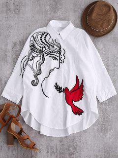 Embroidered Figure And Bird Batwing Shirt - White Xl