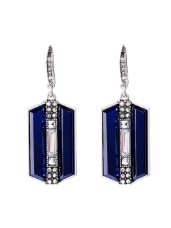 Rhinestone Faux Sapphire Geometric Earrings - Blue