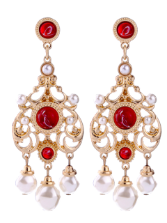 Faux Ruby Pearl Chandelier Earrings - Red