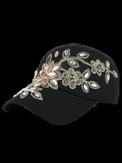 Fleur Broderie Strass Denim Baseball Hat - Noir