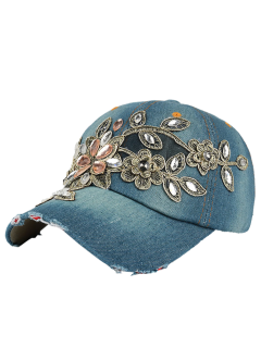 Flower Embroidery Rhinestone Denim Baseball Hat - Blue Green