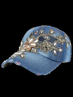 Flower Embroidery Rhinestone Denim Baseball Hat - Denim Blue