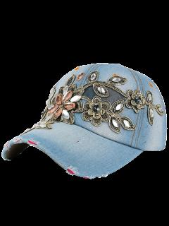 Fleur Broderie Strass Denim Baseball Hat - Bleu Clair