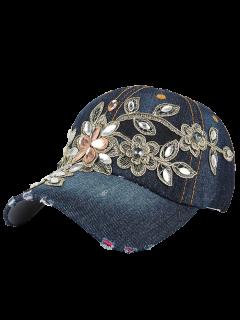 Fleur Broderie Strass Denim Baseball Hat - Minuit