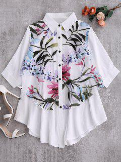 Button Up Floral Trapeze Blouse - White S