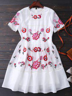 Vestido Floral Bordada - Blanco Xl