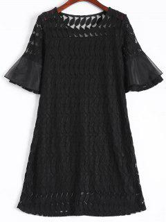 Sheer Lace Flare Sleeve Dress - Black L